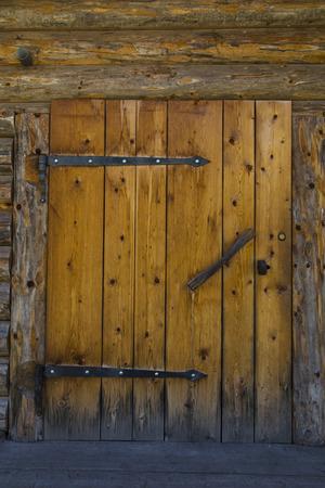 sud tirol: Front view of a  door of a hut in Sudtirol