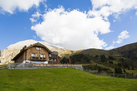 sud tirol: View of a mountain refuge on a sunny day Editorial