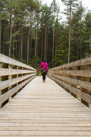 sud tirol: View of a hiker crossing a wooden bridge