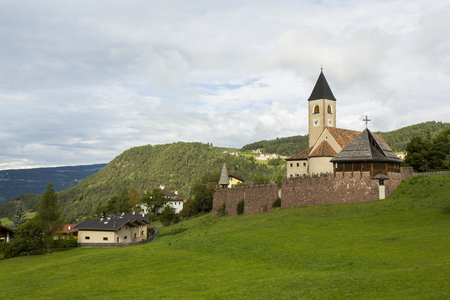 Seis Am Schlern, IT- September, 18. Panoramic view of Holy Cross Parish of Seis Am Schlern