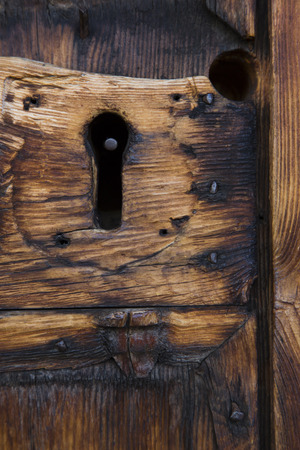 sud tirol: View of a particular of a wooden door Stock Photo