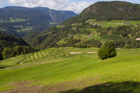 Top view of a golf course in Sud Tirol