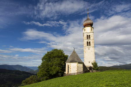 Seiser Alm Schlern, IT- September 19. View of a Saint Valentine church in a sunny day