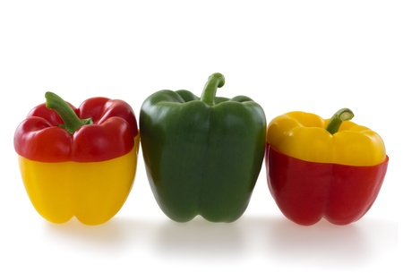 Three colorful  bell pepper , isolated on white background photo