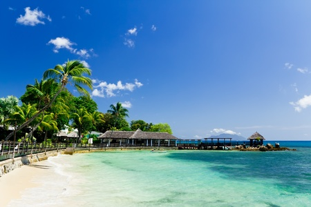 Tropical resort on perfect white sand beach in Seychelles Stock Photo - 10503181
