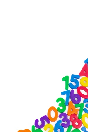 pre school: Assorted Numbers, with copy space, isolated on white background.