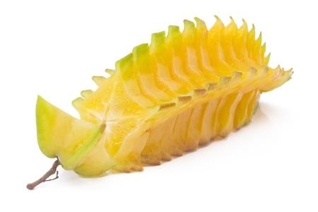 Starfruit ゴレンシの白い背景で隔離のカットします。 写真素材