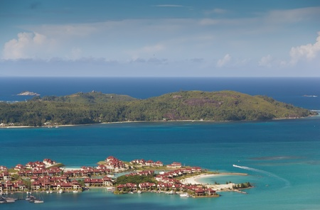 Aerial view on the coastline of the Seychelles Islands and luxury Eden Island from Victoria  Ma Josephine  viewpoint, Mahe  Stock Photo