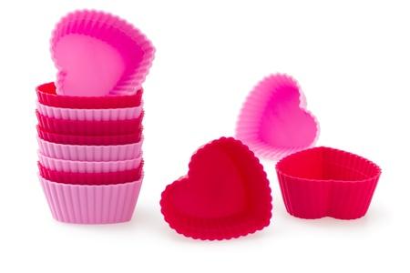 赤とピンクの心形シリコン パン ケース