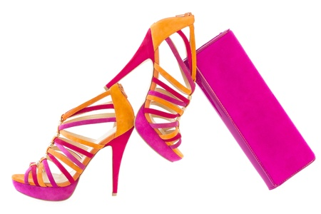 Pare of pink and orange shoes and a matching bag, isolate on white background    Stock Photo