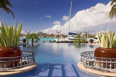 Swimming pool view with plant on the side and yacht with sea as a background Stock Photo - 16442778