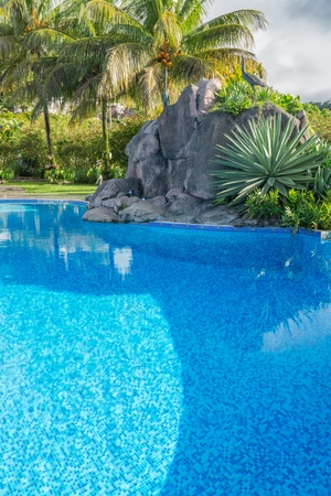 Beautiful turquoise swimming pool surrounded with granite rock and  coconut palm trees  Stock Photo - 19337588