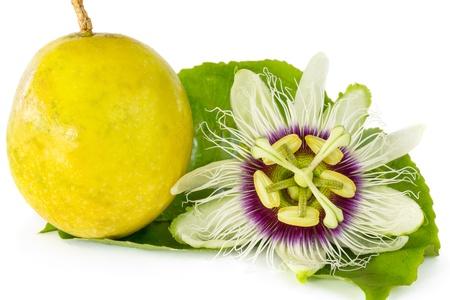 熟したパッション フルーツ白い背景で隔離とパッション フルーツの花