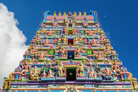 빅토리아, Mahe, 세이셸,라고도 ARUL 미합중국의 힌두교 사원의 다채로운 외관 NAVASAKTHI VINAYAGAR 스톡 콘텐츠
