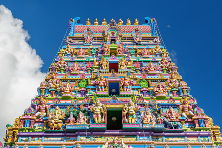 Colorful facade of a Hindu temple in Victoria, Mahe, Seychelles, also known as ARUL MIHU NAVASAKTHI VINAYAGAR