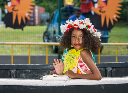 creole: VICTORIA, SEYCHELLES - April 26, 2014   Creole girl at the Carnaval International de Victoria in Seychelles