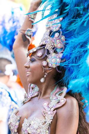 VICTORIA, SEYCHELLES - April 26, 2014: Brazilian samba dancer at the Carnival International de Victoria in Seychelles