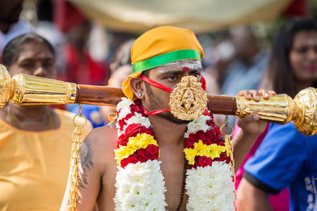 devotee: Georgetown, Penang, Malaysia  January 24, 2016 : Hindu devotee taking part in the Thaipusam festival on January 24, 2016 in Malaysia. Hindu festival to worship God Muruga.