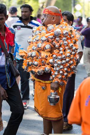 devotee: Georgetown, Penang, Malaysia – January 24, 2016 : Hindu devotee taking part in the Thaipusam festival on January 24, 2016 in Malaysia. Hindu festival to worship God Muruga.