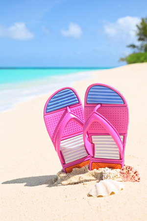 vertical composition: Pinks flip-flops on a sunny sandy beach.Tropical beach vacation and travel concept, vertical composition