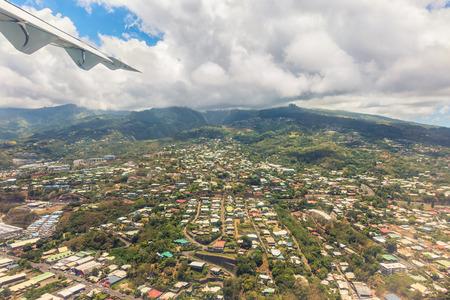 polynesia: Ariel vie of capital of Tahiti, Papeete, French Polynesia