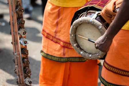 Georgetown, Penang, Malaysia - February 9, 2017 : Elements of musical instruments using in Thaipusam festival on February 9, 2017 in Malaysia. Hindu festival to worship God Muruga.