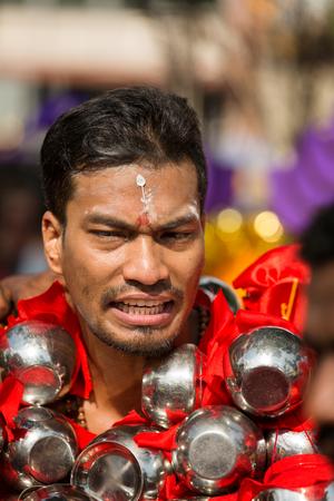 devotee: Georgetown, Penang, Malaysia - February 9, 2017 : Hindu devotee taking part in the Thaipusam festival on February 9, 2017 in Malaysia. Hindu festival to worship God Muruga.