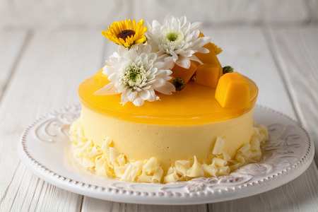 Mango cheesecake with yellow jelly topping, with flowers and fresh mango pieces on white background Stockfoto