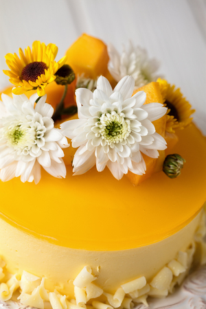 Mango cheesecake with yellow jelly topping, with flowers and fresh mango pieces on white background Banco de Imagens
