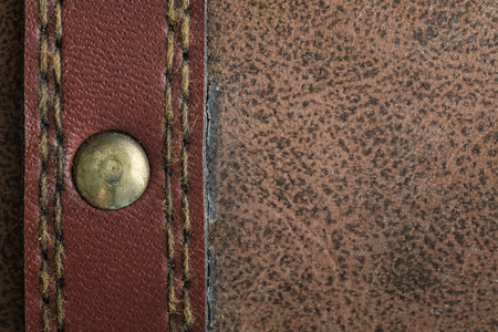 Background of old brown leather suitcase, close up