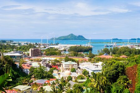 Overlook of colourful Seychelles capital Victoria, Mahe island