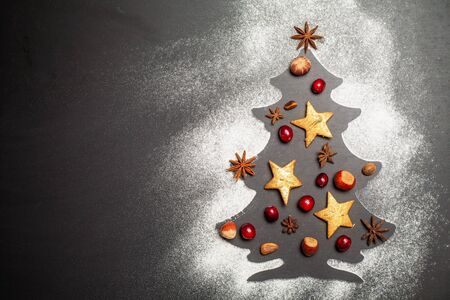 Shape of Christmas tree on dark background with nuts, cranberries, star anise, pine nuts and hazelnuts Standard-Bild - 130132026