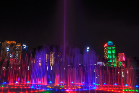 Fountain show  at Square, night view Editorial