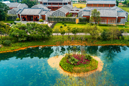aerial view of beautiful ancient building 新聞圖片