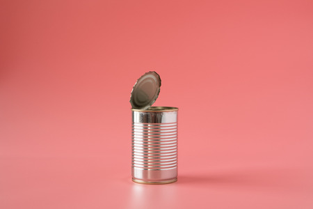 food can open empty on pink background pop art style