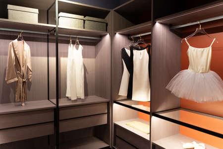 Cloakroom hanger cabinet Stock Photo