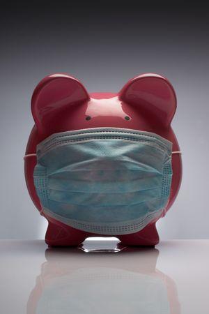 Swine flu pig H1N1 wearing protective mask Standard-Bild