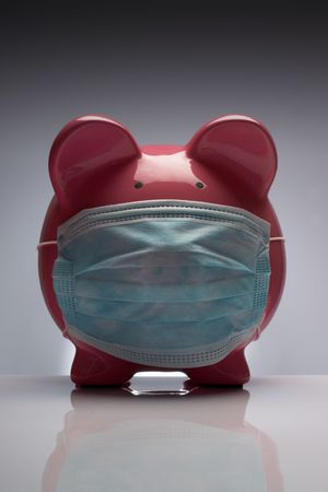 Swine flu pig H1N1 wearing protective mask Stock Photo