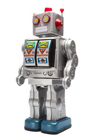 Toy tin robot isolated on white  Standard-Bild