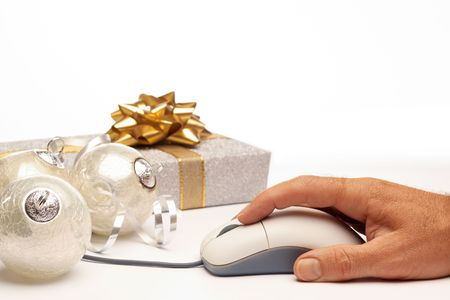 Online internet Christmas background present beautiful silver setting with white space for copy photo