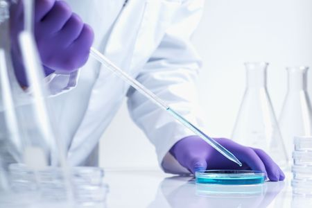 close up of biotechnology research in laboratory Stock Photo