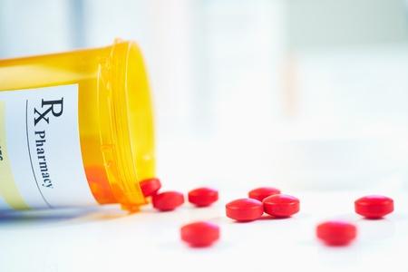 RX prescription drug bottle selective focus