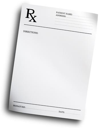 recetas medicas: Formulario de recetas de RX aislada sobre fondo blanco Foto de archivo