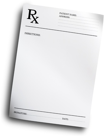 RX prescription form isolated on white background