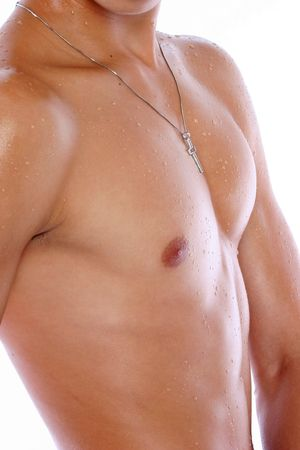 nipples: A muscular male body profile Stock Photo