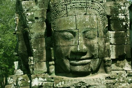 The Smiling Face of King Jayavarman VII at Bayon Temple, Angkor Thom, Siem Reap, Cambodia Stock Photo - 542220