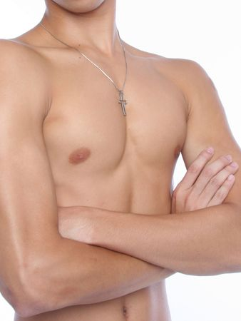 nipples: A muscular male body front view