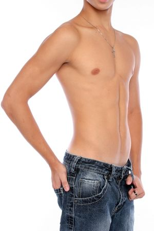 A toned asian male body Stock Photo
