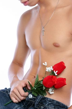 sixpacks: young man with a bunch of red roses Stock Photo