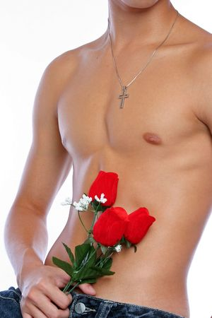 sixpacks: Man with roses Stock Photo